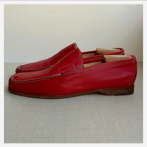 Canali Men EU 42 Red Leather Loafers